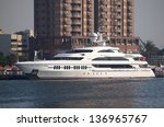 KAOHSIUNG, TAIWAN - FEBRUARY 22: The luxury yacht Ambrosia makes a port call at Kaohsiung City on February 22, 2013 in Kaohsiung. - stock photo