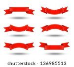 six decorative red ribbons on a ... | Shutterstock .eps vector #136985513