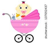 a little girl sits in a... | Shutterstock .eps vector #137052437