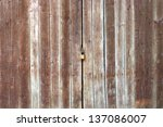 Old Wooden Door Of Shed With...