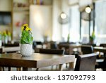 Stylish interior of a cozy restaurant - stock photo