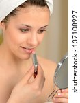 young teenager girl using... | Shutterstock . vector #137108927