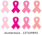 pink cancer ribbon set isolated ... | Shutterstock .eps vector #137109893