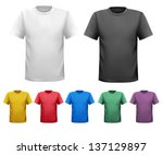 set of male t shirts. vector. | Shutterstock .eps vector #137129897
