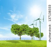 wind turbine and green heart... | Shutterstock . vector #137138333