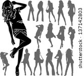 vector black silhouettes of... | Shutterstock .eps vector #137142803