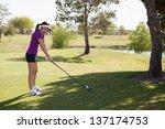 beautiful latin golfer... | Shutterstock . vector #137174753
