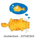 funny fat cat | Shutterstock .eps vector #137181563