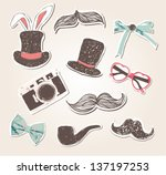 vector vintage things set funny ... | Shutterstock .eps vector #137197253