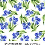 forget me not flowers seamless... | Shutterstock . vector #137199413