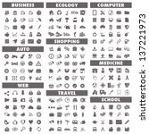 Basic icons set: Business, Auto, Web, Ecology, Shopping, Travel, Computer, Medicine and School.