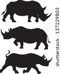 Rhino Silhouette Vector Set Of...