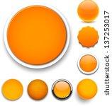 Set Of Blank Orange Round...