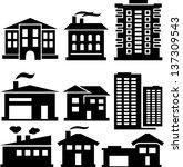 vector set of various buildings | Shutterstock .eps vector #137309543