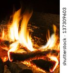 Close Up Image Of Fireplace An...