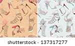 two seamless patterns with high ... | Shutterstock .eps vector #137317277