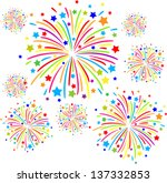 Colorful Firework On White...