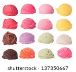 Stock photo ice cream scoops collection isolated on white background 137350667