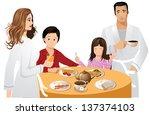 family breakfast. jpg | Shutterstock . vector #137374103