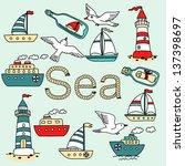 vector collection of sea icon... | Shutterstock .eps vector #137398697