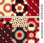 a set of 9 seamless japanese... | Shutterstock .eps vector #137411333