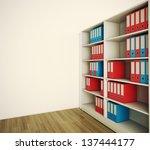 Shelf Archive Folder. 3d Image.