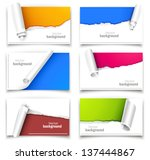 set of gift cards with torn... | Shutterstock .eps vector #137444867