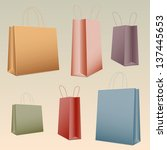 shopping set colorful paper bag ... | Shutterstock .eps vector #137445653