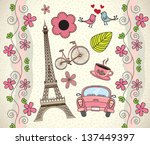 love paris background with... | Shutterstock .eps vector #137449397