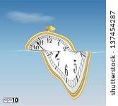 illustration surreal soft clock | Shutterstock .eps vector #137454287