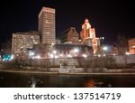 Providence, Rhode Island Skyline at night - December 2010 - stock photo