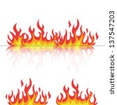 flames set with reflection on white vector illustration
