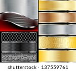 Illustration of abstract background with a metallic element. Vector. - stock vector