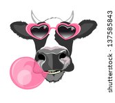 Fancy Cow Portrait With Pink...