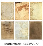 six aged paper pieces with... | Shutterstock . vector #137599277