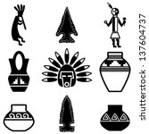 american,anasazi,ancient,archeology,arrow,arrowhead,black,dancer,feathers,flute,four corners,hopi,icon,illustration,isolated