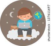 illustration of man using cloud ... | Shutterstock .eps vector #137611697