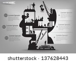 Building under construction with workers in sIlhouette of a head, Vector illustration template design - stock vector