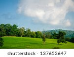 Mountain valley on sunny day. Great Smoky Mountains, North carolina - stock photo