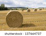 Bale Of Straw On A On A Stubbl...