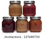 five jars of baby food and spoon | Shutterstock . vector #137680733