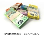 a stack of bundled australian... | Shutterstock . vector #137740877