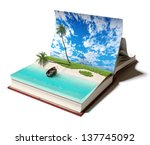 Open book with a tropical beach inside. 3d concept - stock photo