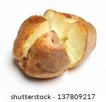 Plain Jacket Potato On White...