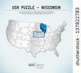 usa map puzzle   one state one... | Shutterstock .eps vector #137822783