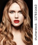 beautiful young woman with red... | Shutterstock . vector #137831663