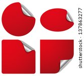 red silver sticker set | Shutterstock .eps vector #137863277