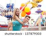 joyful young couple being... | Shutterstock . vector #137879303