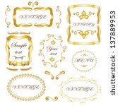 set of vintage frames  ribbons... | Shutterstock .eps vector #137889953
