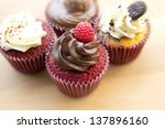 four cupcakes - stock photo